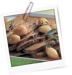 Geschmorte Kalbsnuss mit Olivenreis